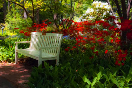 oil park: Beautiful manicured shade garden with a white park bench surrounded by blooming rhododendron and azalea shrubs and trees and ferns with oil painting effect Stock Photo