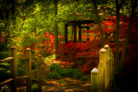 azaleas: Beautiful manicured shade garden with a wooden bridge leading to a Gazebo surrounded by blooming rhododendron and azalea shrubs and trees and ferns  with oil painting effect Stock Photo