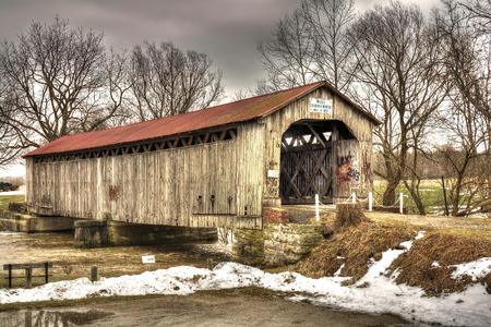 hdr: The historic Mull Covered Bridge in rural northwest Ohio  Built in 1851 the bridge measures 100 feet in length