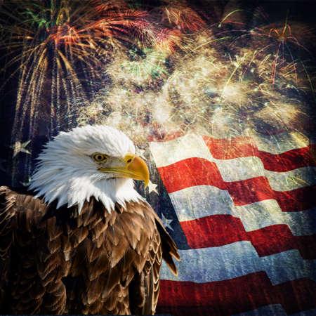 aigle: Photo composite d'Eagle chauve avec un drapeau et des feux d'artifice dans le fond tenu une superposition de grunge pour une image patriotique belle effet vieilli Nice pour Jour de l'Indépendance, Jour du Souvenir, jour de vétérans et Presidents Day