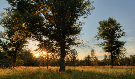 ohio: A summer sunset over a midwest prairie in northwest Ohio   Stock Photo