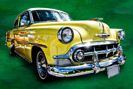 chevrolet: Beautiful photo of a yellow 1953 Chevrolet 210 model coupe that has been isolated from it