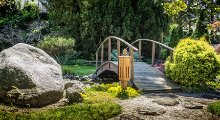 Beautiful manicured Japanese garden with mature Japanese Maple trees surrounding a pond with a wooden arched bridges and a stepping stone path   Stock Photo