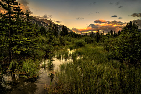 canadian rockies: A beautiful warm sunset in the Canadian Rockies near Banff, Alberta Canada.