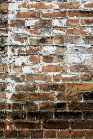 Photo of a colorful old decaying brick wall with peeling paint and stucco. Great for a background image or a texture. photo