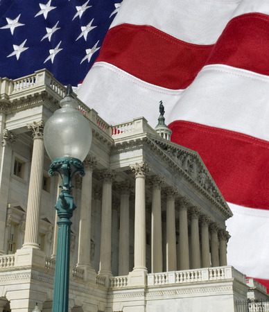 legislative: A close look at some of the architectural details of the United States Capitol Building in Washington DC with an American Flag in the background. Stock Photo