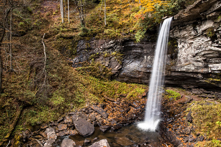 west virginia trees: A beautifful slender waterfall in West Virginia  during autumn colors. Stock Photo