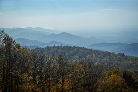 appalachian mountains: A scenic vista looking out over the Appalachian Mountains during peak autumn color.