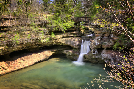 ohio: Upper Falls at Old Mans Cave in Hocking Hills Ohio. This is a very popular tourist attraction in Ohio.