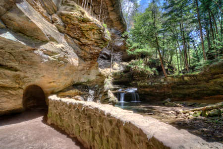 Old Mans Cave in Hocking Hills Ohio. This is a very popular tourist attraction in Ohio.