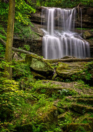 township: Quakertown Falls is a fifty foot waterfall on Falling Spring Creek located just northwest of the town of Hillsville in Mahoning Township, Lawrence County, Pennsylvania  Stock Photo