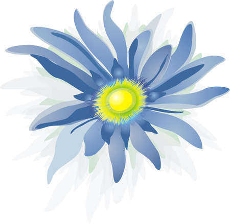 curlicue: Blue flower on white background - computer drawing (bitmap).