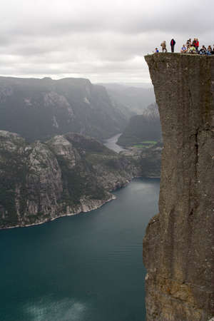 View at Lyse fjord and Preikestolen cliff in Norway. 600 meters above the sea level.