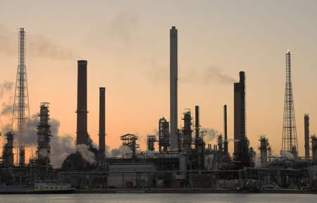 catalytic: Oil refinery at sunset in Anwerp port