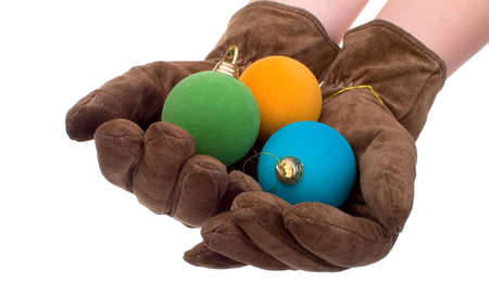 gloves and christmas balls photo