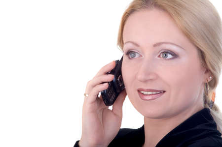 congenial: attractive business woman talking on the telephone with copyspace Stock Photo