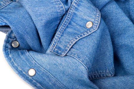 blue jeans shirt close-up on the white background photo