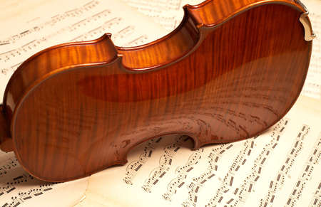 laque: violine over music notes Stock Photo