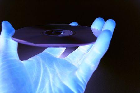 modificar: Esta es una imagen de una parte celebrar una base de datos en un cd (tecnolog�a habitaci�n oscura) como laboratorio de medio ambiente
