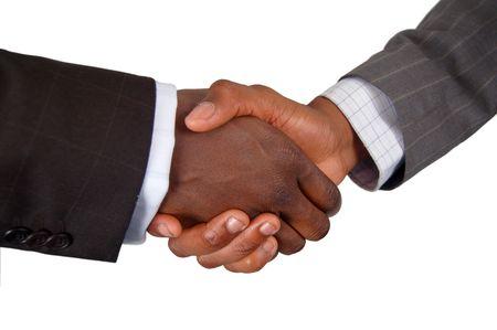 pacto: �sta es una imagen de dos manos del negocio que realizan un apret�n de manos. Foto de archivo