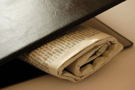 This is an image of a newspaper sandwich between a file. photo