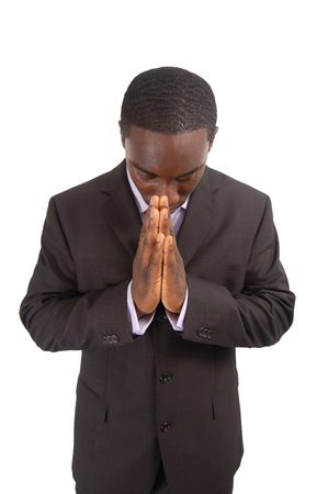 This is an image of a business man bowing his head, as a sign of respect. This can also represent Stock Photo