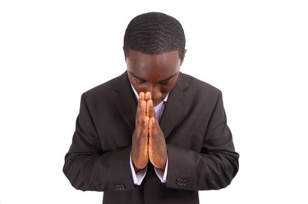 bowing head: This is an image of a business man bowing his head, as a sign of respect. This can also represent Stock Photo