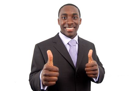 pleasing: This is an image of business, happily giving the thumbs up. This represents great work, you got the job and your the best.