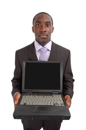 embed: This is an image of a man holding a laptop. Designers can embed another image into the blank screen.