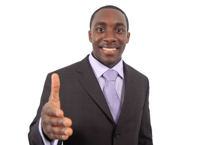 This is an image of a businessman, happily offering a handshake. This represents great work, you got the job and your the best etc...