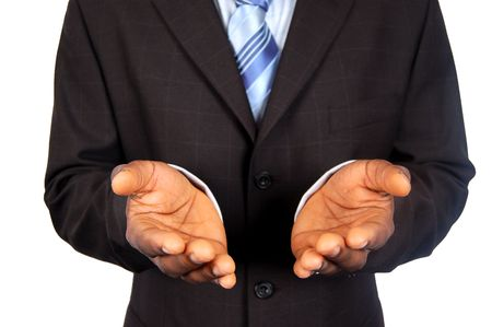 This is an image of black business man offering his hands.