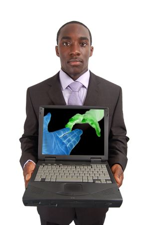 osiągnął: Jest to obraz człowieka posiadania laptopa z koncepcyjnego wizerunku osoby Zdjęcie Seryjne