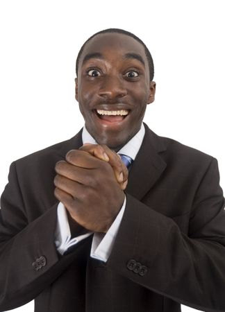 This is an image of a business man excited and slightly surprised. This image can be used in anything communicating the happiness etc.. Stock Photo