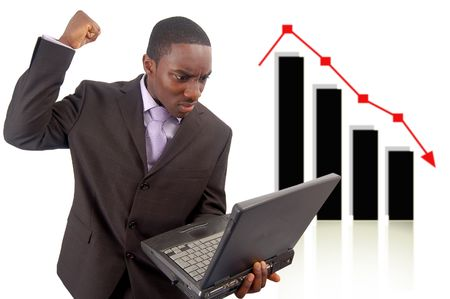arrears: This is an image of a man deeply angeredfrustrated due to a drop in his Stock Photo