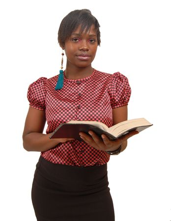 This is an image of a woman posing with a bible.