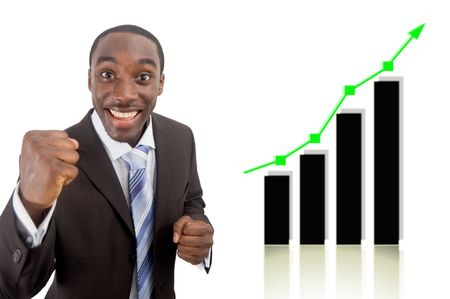 This is an image of a businessman fully excited due to a rise in profits, symbolised by the graph behind him. Stock Photo