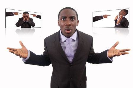This is an image of a businessman fighting Self Blame . This image can be used to represent anything to do with Blame and Protest. Stock Photo