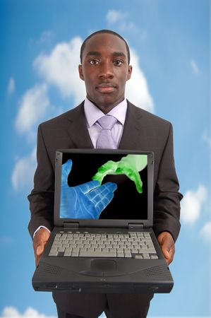 tcp: This is an image of a man holding a laptop. This image can be used represent Network concepts.