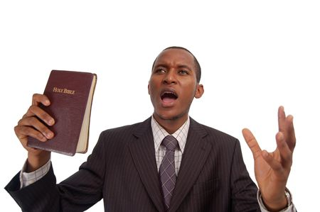 This is an image of man holding a bible. This image can be used to represent sermon, preaching etc... Stock Photo