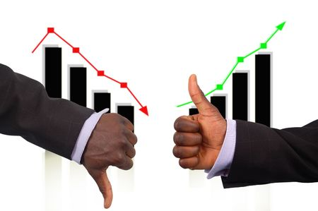 This is an image two hands demonstrating the Rise and Fall concept of businessshares etc. photo