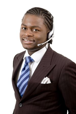 This is an image of a male call operator. This image can be used for telecommunication and service themes. (Editted over white for easy clipping)