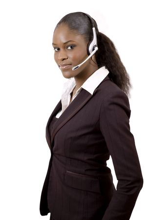 This is an image of a female call operator. This image can be used for telecommunication and service themes. (Editted over white for easy clipping)