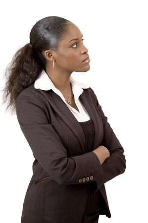 ponder: This is an image of a businesswoman ponderingthinking. This image can be used to represent Thought themes and Planning themes.