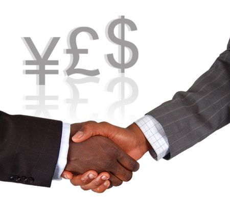 This is an image of two businessmen performing a handshake, celebrating a completed deal.