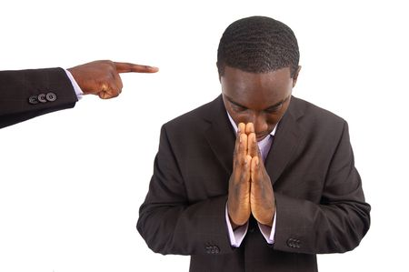 persecution: This is an image of a man being peaceful in the face of Persecution. Stock Photo