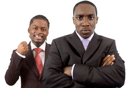 This is an image of two businessmen one is angry and the other is happy. This image can be used to represnt