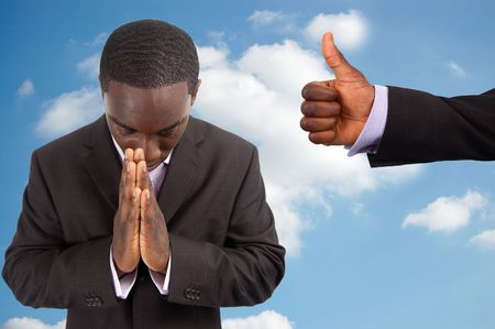 This is an image of a man being spiritual encouraged, symbolised by the