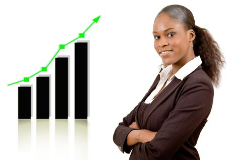 This is an image of a businesswoman smiling due to a rise in profits, symbolised by the graph behind her. This image communicates