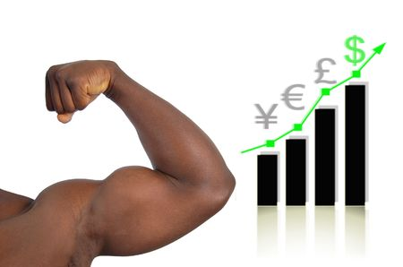 This is an image of a very strong arm (big biceps) with a graph in the background to represent strong  Stock Photo