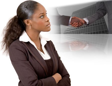This is an image of a businesswoman with a vision of making successful deals. This image can be used to represent
